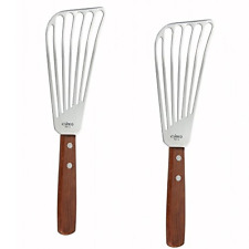 2 Pcs Stainless Steel Slotted Fish Turner Spatula Flexible Flipper Cooking Tool