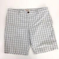 Penguin Mens Size 38 (36 on tag) White & Gray plaid Flat Front Shorts B-16