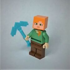 Genuine LEGO Minecraft Alex Minifigure w/ diamond pickaxe (21123, 21129, 21128)