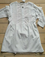 ZARA Cotton Ruffle Sleeve Lace Eyelet Dress With Cutwork Embroidery White S M L