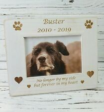 Personalised Engraved Dog Pet Memory Photo Frame Vintage White Wash Wooden