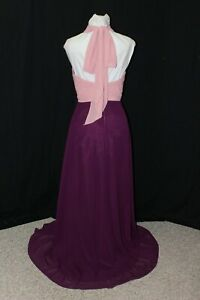 NEW Pronovias Barcelona Size 6 Dark Pink/Plum chiffon long formal bridesmaid
