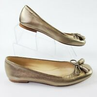 Stuart Weitzman Bronze Gold Loafers Flats Shoes Bow Size 6.5 M Leather Slip Ons