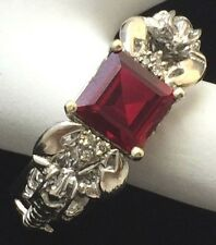 14K White Gold Synthetic Garnet & Diamond Wide Band Lobster Ring BRAND NEW 12.1G