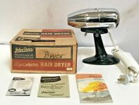 Vintage Chrome John Oster AIRJET Electric Hair Dryer Model 202 Hot/Cold w/ Stand