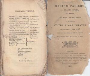 Opera Programme 1835 London Marino Faliero Giulia Grisi Ivanoff Haymarket