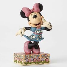 New Jim Shore Disney Figurine Minnie Mouse Folk Art Quilted Statue Pink Flower