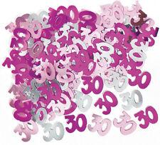 30. Geburtstag Konfetti Streu Deko Metallic Pink/Silber Zahl 30 Folie 1cm Ø
