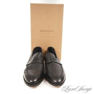 LNIB Meermin Mallorca Black Leather Unlined Ron Last Penny Loafers Shoes 9.5 NR
