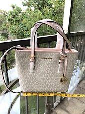 Michael Kors Women PVC Leather XS Tote Crossbody Bag Vanilla Passport Wallet