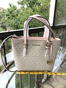 Michael Kors Women Leather XS Tote Satchel Bag Shoulder Handbag Purse Vanilla