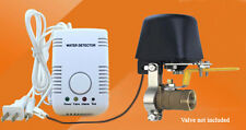 Water heater leak detector electric shutoff valve.