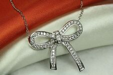Bow Tie Necklace 925 Sterling Silver~Mxmsat Cute And Unique Clear Cz Encrusted