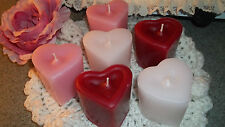 6 LARGE HIGHLY SCENTED HEART VOTIVE CANDLES YOUR CHOICE OF FRAGRANCE ~ GORGEOUS!