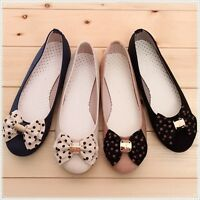 BN Womens Comfy Casual Polka Bowed Walking Ballet Flats Ballerinas Shoes Loafers