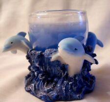 Dolphins and Ocean Waves Nautical Resin Candle Holder & Candle by Direct Conn