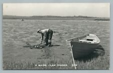 """""""Maine Clam Digger"""" Vintage Fishing Boat RPPC Photo LUBEC ME Postcard 1950s"""