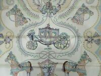 Auth Excellent HERMES Scarf 100% Silk paperole Beige Multi Color Box 83969 B