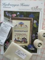 Victoria Sampler HYDRANGEA HOUSE + Accessory Pack #173 + 28 ct Linen + Perle