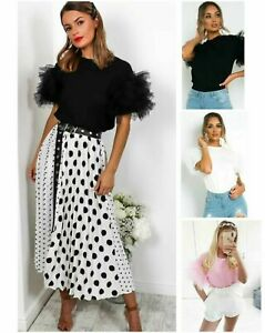 Womens Tulle Scoop Neck Top Ladies Frill Mesh Puff Short Sleeve Party Tee TShirt