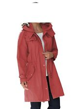 Jessica London Hooded Parka with Faux Fur Trim Red Ochre Size 24