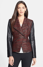 $398 Classiques Entier LARCH Tweed- Leather Burgundy Fitted Jacket L Blazer
