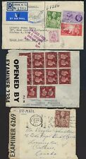 UK GB CANADA US 1942 56 WARTIME CENSORED COVER WALTHAMSTON TO ONTARIO & REGISTER