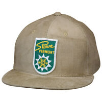 Stowe Vermont Hat by LET'S BE IRIE - Vintage Ski Patch, Khaki Corduroy Snapback