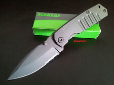 "Schrade 4.8""H/Duty Frame Lock Drop Point Combo Edge SCH304S Folding Pocket Knife"
