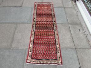Vintage Traditional Hand Made Oriental Pink Red Blue Wool Short Runner 166x54cm