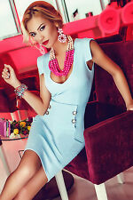 Abito Bottoni nudo Aderente Top Scollo Aperto Mini Party Button Office Dress M