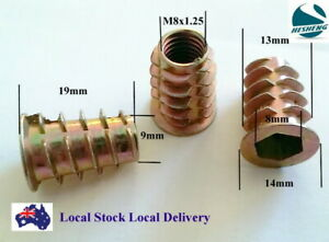 Qty 10 M8 19mm Wood Timber Threaded Flange Insert Zinc Steel Alloy Allen Hex Nut