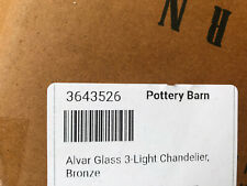 Pottery Barn Alvar Glass 3-Light Chandelier Bronze NEW IN BOX