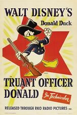 DONALD DUCK MOVIE POSTER Truant Officer RARE VINTAGE