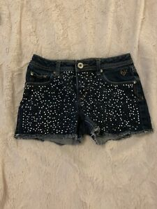 1408b Justice Sz 12 girls studded shorts blue Jean EUC