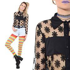 Vintage 90s Black DAISY Sheer Mesh Floral Blouse Crop Top Shirt Grunge Goth M