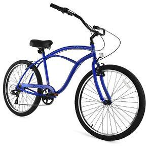 Zycle Fix Classic Beach Cruiser Men 7 Speed Bicycle Bike Blue Matte NEW