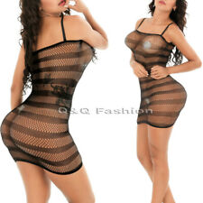 Sheer Stripe Halter Fishnet Waistcoat Lingerie Babydoll Dress Bodysuit Stocking