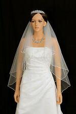 Handmade 2T Ivory Bridal Fingertip Rattail Edge Center Gathered Wedding Veil