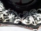 Vintage Black Bon Bon Sweet Bowl Cambridge Glass Black Ebony Silver Overlay