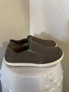 Olukai Nohea Mesh Slip On Casual Shoe Big Boy's Size 4 Brown Green Drop Heel