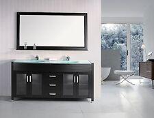 """Design Element Dec016B Waterfall 72"""" Double Sink Vanity Set in Espresso"""