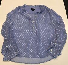 J CREW womens Silk Dash- dot blouse top 8 blue white