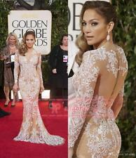 White Lace Long Sleeve Celebrity Dresses Appliques Mermaid Prom Gowns