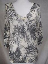 Guinevere Anthropologie Woodland Haze Top Thin Knit Sweater Sz S Ivory Floral