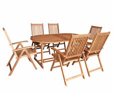 Gartengarnitur Sitzgruppe Gartenmöbel Garnitur LAGO 7-teilig, Eukalyptus Holz