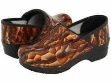 Dansko Professional Brown Tigers Eye Patent Leather Clogs Shoes 42 US 11.5 12
