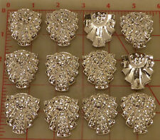 "12 Czech metal 3 loop sew-on decoration rhinestones art deco inspired 1.5"" #838"
