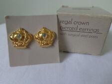US AVON Vintage Regal Crown Crystal Stud Earrings Jewelry 1989 Collection Nice