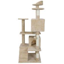 "53"" Cat Tree House Scratcher Beige Condo Post Bed Furniture Kitten Play Tower"